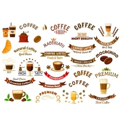 Coffee shop and cafe retro design elements vector