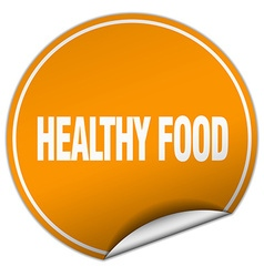 Healthy food round orange sticker isolated on vector
