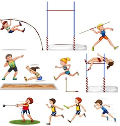Different kind of track and field sports vector