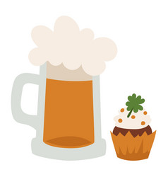 alcohol beer mug glass cap vector image
