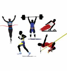 athletic sport silhouettes vector image vector image