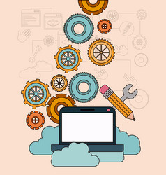 Background with laptop computer and storage cloud vector