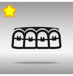 black teeth braces Icon button logo symbol concept vector image
