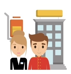 Building bellboy and receptionist of hotel vector