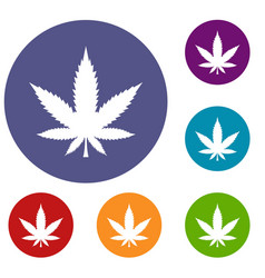 cannabis leaf icons set vector image vector image
