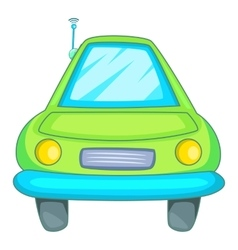 Car with wifi sign i icon cartoon style vector