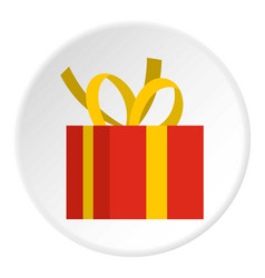 Christmas box with yellow bow icon circle vector