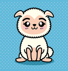 Cute and lovely sheep cartoon vector