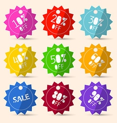 Discount Paper Colorful Labels Sale Set vector image vector image