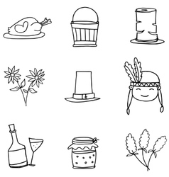 Doodle of object thanksgiving hand draw vector