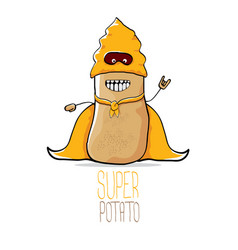 Funny cartoon cute brown super hero potato vector