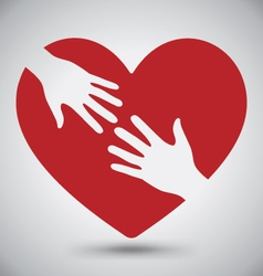 Hand of Lover on Red Heart vector image