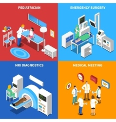 Hospital patient 4 isometric icons square vector