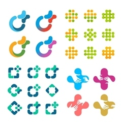 Isolated abstract logo set medical cross vector