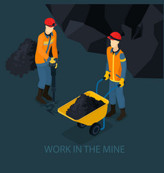 Isometric mine industry concept vector