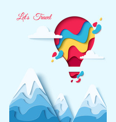 lets travel paper art hot air balloon concept vector image