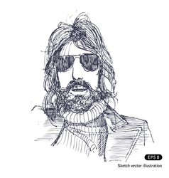 Man with long hair and sunglasses vector