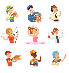 men and women of different professions set people vector image