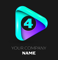 number four symbol in the colorful triangle vector image vector image