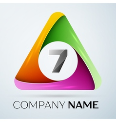 Number seven logo symbol in the colorful triangle vector image vector image