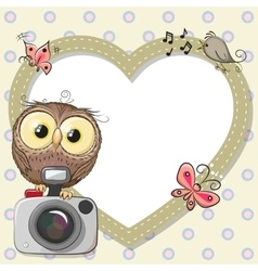 Owl with heart frame vector image vector image