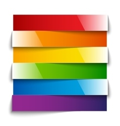Rainbow shiny paper stripes banners with shadows vector