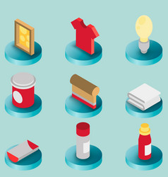 silkskreen color isometric icons vector image