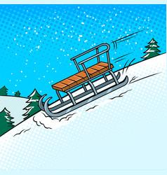 sledge slide down hill pop art vector image