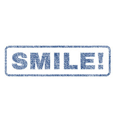 Smile exclamation textile stamp vector