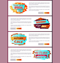 Special offer autumn sale posters set promo advert vector