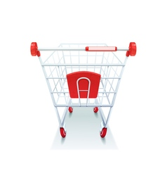Supermarket grocery shopping cart realistic image vector