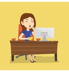 Tired employee working in office vector image vector image