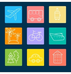 Travel flat icons stock vector