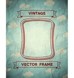 Vintage smooth frame with clouds vector