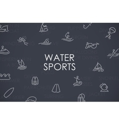 Water sports thin line icons vector