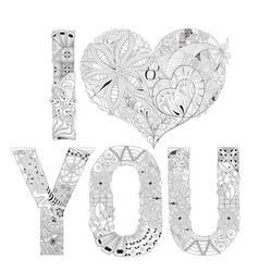 Word i love you for coloring decorative vector