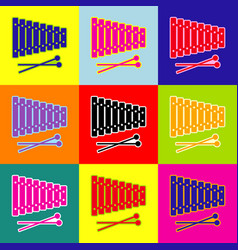 Xylophone sign pop-art style colorful vector
