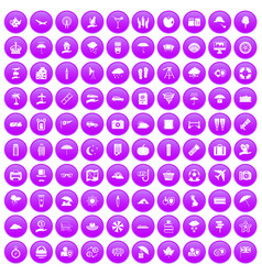 100 umbrella icons set purple vector