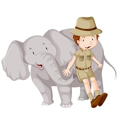 Boy in safari outfit and elephant vector