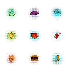 Wild west of usa icons set pop-art style vector