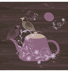Birds couple on the teapot hand drawn vector