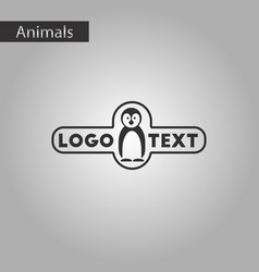 black and white style icon penguin logo vector image