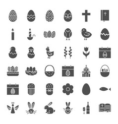 Happy easter solid web icons vector