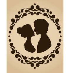 Silhouettes of kissing couple vector image