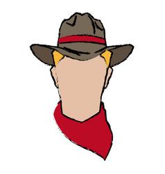 Cowboy face portrait of strong man vector