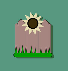 flat icon design collection fence and sunflowers vector image