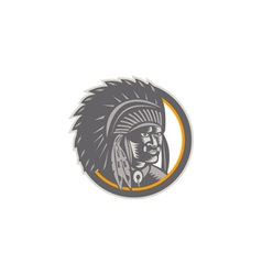 Native American Indian Chief Head Woodcut vector image