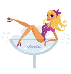 Pinup blond girl vector