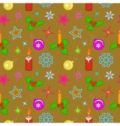 Seamless christmas pattern colored holly berry vector