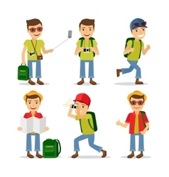 Tourist travel character vector image